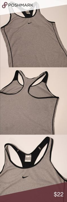 Nike racer back tank, dry fit, light gray MEDIUM nike tank racerback dry fit medium  9/10, great condition, looser fit, super light weight gray with black piping. Nike Tops Tank Tops
