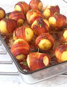 Baconlindad potatis Tzatziki, Pretzel Bites, Guacamole, Bacon, Grilling, Potatoes, Peach, Vegan, Fruit