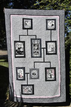 Nice Ghastlie family tree quilt          I  like the lay out...k