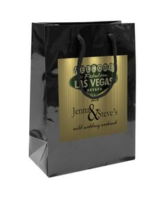 $50 for 20 Gold Las Vegas Wedding Welcome Bag. Gold custom label on Black gloss bag.  #WeddingWelcomeBags