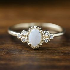 14k gold natural opal ring Oval white opal October