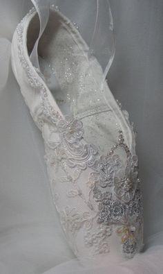 Cinderella's crystal decorated pointe shoe, Aurora's Wedding, Snow Queen, Bridal, Debutante