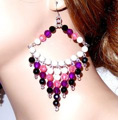 Large pink purple and black beaded chandelier earrings diva