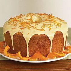 Pastel esponja de naranja