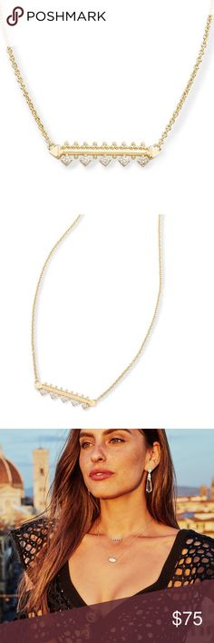 """Anissa Bar Pendant Necklace BOUGHT AT NORDSTROM SOLD OUT DETAILS Architectural and artful, the Anissa Bar Pendant Necklace has a regal look that's still simple enough for the everyday.  • Size: 1""""L x 0.24""""W station, 15"""" chain with 2"""" extender • Lobster claw closure • Material: white cubic zirconia*  *Please note: Due to the one-of-a-kind nature of the medium, exact color patterns may vary slightly from the image shown. Kendra Scott Jewelry Necklaces"""