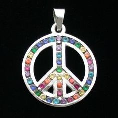 Pendant - Multi-Crystal Rainbow Peace Symbol - Sterling Silver - Gaia - gaia rising metaphysical