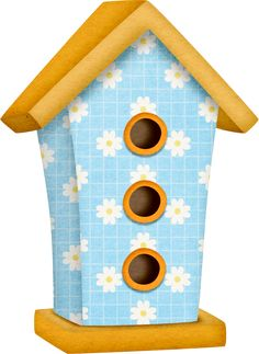 Blue With White Flowers Birdhouse