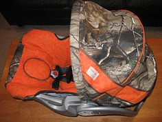 Seriously dying right now- someone actually made a new cover for their carseat out of orange and camo?! Totally reminds me of Duck Dynasty!