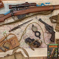 Time for some weekend adventures! Not exactly what this gear was used for in WWII by the British military. The Lee Enfield rifle is a No. 4 (T). The revolver is an Enfield .380 No. 2 Mk I. Read more from the 2017 Surplus special edition by following our p