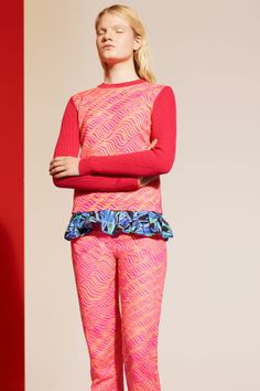 """KENZO resort collection spring summer 2014 - CORAL KNIT TOP WITH RAMI IN WAVES PRINT COBALT BLOCK FLOWER PRINT RUFFLE BIKINI TOP BISCUIT RAMIE CANVAS """"WAVES"""" PANTS"""