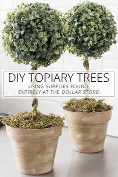 Love the look of topiary trees, but don't want to pay the high price tag? Here's a way to make DIY topiary trees from Dollar Store supplies! #TopiaryTrees #DIY #Crafts #DollarStore #HomeDecor