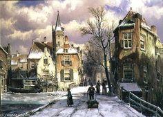 Poussant une brouette dans la neige de Willem Koekkoek (1839-1895, Netherlands)