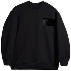 T By Alexander Wang Sweatshirt ($208) ❤ liked on Polyvore featuring tops, hoodies, sweatshirts, sweaters, black, long sleeve sweatshirt, black cotton sweatshirt, black cotton top, t by alexander wang and sweatshirt hoodies