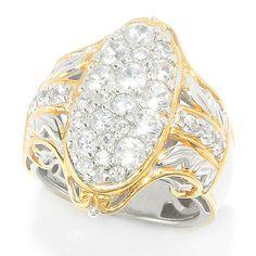 151-017 - Gems en Vogue 2.01ctw White Zircon Oval Cluster Textured Ring