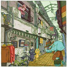 つちもちしんじ/「東京下町百景」発売中 @wabisabipop   下町百景大阪編7景「シカク(中津)」 大阪シカクさんでの展示、今日までです。お越し頂いた皆様、改めてどうもありがとうございました。最終日、どーぞよろしくお願いします。 https://twitter.com/wabisabipop/status/800144548575920128