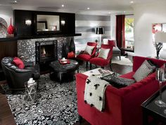 Living Room Design Ideas Black And Red Red Black White Living Room Ideas Black Red Living Room Probably A More Realistic Design Option Since The Walls And Red And Black Living Room Ideas Photos Black And Red Living Room, White Living Room Decor, Room Interior, Fireplace Design, Home Decor, House Interior, Living Room Grey, Black Living Room, Living Decor