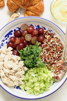 This Curried Chicken Salad with Grapes and Pecans is quick and easy to make. It's great served on a bed of greens or between two slices of bread or croissant for a delicious sandwich. @theharvestkitchen.com   chicken salad     chicken curry     easy chicken salad recipes  