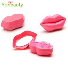 2016最新ミニセクシーな唇はヘアブラシもつれ解除コーム静電防止シャワーブラシメイク美容もつれヘアブラシ