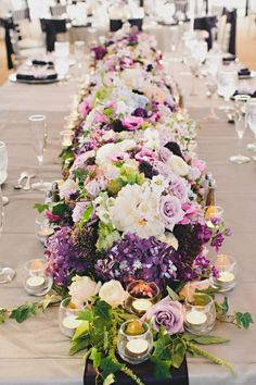 breathtaking floral tablerunner    we ❤ this!  moncheribridals.com  #weddingtablegarland #weddingtablescape #weddingcenterpiece