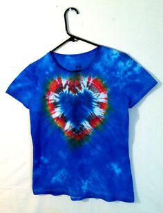 Tie Dye Womens Tee - Psychedelic Tie Dye Shirt - Blue Heart - 100% Cotton  $13.00