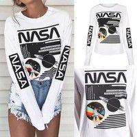 Wish   Unisex Street Fashion NASA Graphic Crew Neck Long Sleeve Pullover Sweatshirt Tops T Shirts Zentangle Patterns For Beginners, Sweater Shirt, Shirt Outfit, Vaporwave Clothing, Nasa Clothes, Harajuku, Moda Emo, Teen Fashion Outfits, Hijab Fashion
