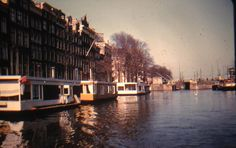 KODACHROME Red Border 35mm Slide Holland Amsterdam House Boats Canal. The slide mount indicates the image is from 1956.