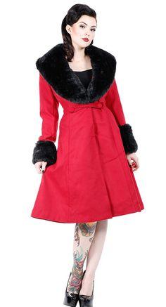 Hell Bunny Shonna Coat in Burgandy | Blame Betty