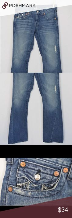 "True Religion women's jeans. Flared and distressed Excellent used condition True Religion women's jeans. Flared and distressed.  Dimensions:-  Waist:- 16.0"" across (or 32"" total - 30"" on size tag) Hips:- 19.0"" Inseam:- 33.25"" Length:- 43"" Cuff:- 9.5""  Thanks for viewing! True Religion Jeans Flare & Wide Leg"