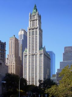 """""""The Woolworth Building does not scrape the sky; it greets it, salutes it with a beau geste."""" E.V. Lucas"""