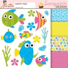 Description: Enjoy under the sea with these colorful, happy fish. 14 Cliparts…