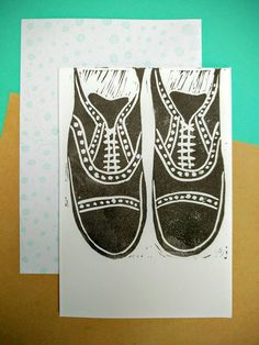 Smart Shoes Lino cut Linoprint brogues Oxford formal pair of shoes shoe handmade hand printed greeting card in black ink.  Free UK shipping.