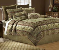 """African Safari 11-Piece Queen Bedding Set by Universal Lighting and Decor. $299.91. Queen comforter is 97"""" square.. 65% polyester, 30% viscose, 5% cotton.. Queen set includes 2 shams, 2 Euro shams with inse. King comforter is 113"""" wide, 97"""" long.. King set includes 14 pieces.. Look closely and you'll find a lion and lioness motif embedded in this woven tapestry-style bedding set. This fabulous collection incorporates various shades of brown, burgundy and forest ..."""
