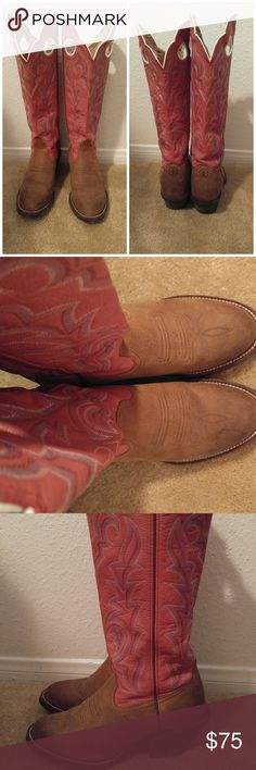 Tony Lama 3R Pink Buckaroo Cowboy Boots Buckaroo cowboy boots!! Pink and knee high! Only flaw is a slight watermark on the right boot as shown in second picture. Love these boots but they are just too big for me. Be like Miranda Lambert and get your cowgirl on with these Tony Lama boots!! Please feel free to make an offer!  Tags: cowgirl boots, pink, buckaroo, riding boots, festival, boho Tony Lama Shoes