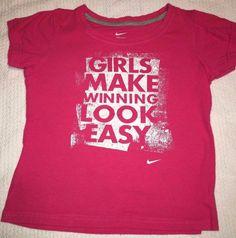 NIKE Girls Size 6X Shirt Pink & White T-Shirt Girls Make Winning Look Easy Athle #Nike #Everyday