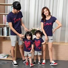 Family Matching Outfits couples clothes mother father baby summer short sleeve T-shirt Manufacturers wholesale 2017 Family Picture Outfits, Couple Outfits, Matching Family Outfits, Boy Outfits, Mother Father And Baby, Father Daughter, Mom Dad Baby, Mommy And Me Outfits, Baby Shirts