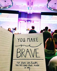 """He makes me brave. These words have been resonating in my heart this week. In the midst of the trials and stresses to """"create"""" a perfect future it is so important to bring ourselves back to the fact that God has already promised us an abundant future in Him. We should not have fear for what may or may not happen because He is for us and [no fear can hinder the love that made a way]. #ugawesley #youreinvited by annavjohns"""