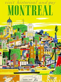 Historical Montreal Canada Canadian Vintage Travel Advertisement Art Poster in Collectibles, Souvenirs & Travel Memorabilia, International A4 Poster, Poster Prints, Poster Wall, Posters Canada, Voyage Canada, Montreal Travel, Tourism Poster, Canada Travel, Canada Canada