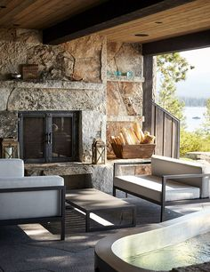 Fireplaces are extremely dangerous. An outdoor fireplace will help to modify the look of a home and garden. Outdoor masonry fireplaces made from brick provide a conventional look. Fire Pit Landscaping, Home Landscaping, Fireplace Update, Fireplace Design, Fireplace Ideas, Indoor Swimming Pools, Swimming Pool Designs, Lake Tahoe Houses, Buy A Pool