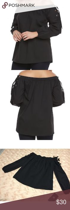 Rock & Republic Over the Shoulder Top w/Ties This is a darling top!!! Super easy to throw on but stylish at the same time! t's black, over the shoulder, and has some really cute ties at the shoulder! Super flattering on! This is by Rock & Republic and is brand new with tags! Retails for $48! Size XS Rock & Republic Tops