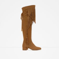 ZARA - WOMAN - LEATHER BOOT WITH FRINGE
