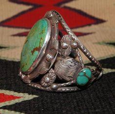 Navajo Figural Turquoise Bracelet From Uchizono Gallery.