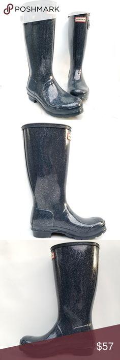c6125d0bc Hunter Rain Boot Kids Glitter Finish Wellington Hunter Rain Boots Glitter  Finish in Blue Size Boy s