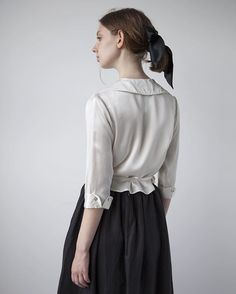 Preview of Edwardian inspired Amelia blouse in pure silk charmeuse, available…
