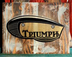 Triumph Motorcycle Pallet Wood Art.  by CryptobioticDesigns
