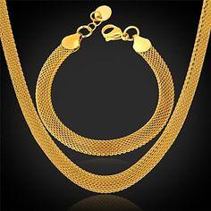 plaqué u7®chunky collier bracelet 18k or véritable inoxydable ensemble de bijoux en acier – EUR € 14.71
