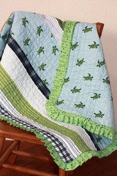 Baby Quilt Sea Turtles Pale Blue and Green Crib Quilt. $82.50, via Etsy.