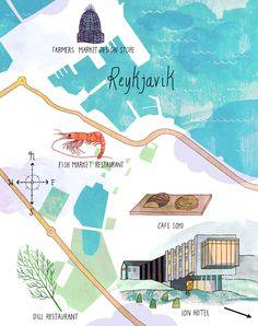 Map ilustration - Reykjavik - Josie Portillo