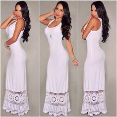 Pretty white long summer dress