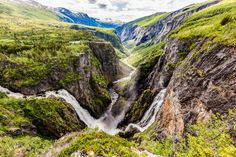 waterfall pouring into Eidfjord in Norway Waterfall Trail, Famous Waterfalls, Norway Fjords, Alesund, Local Tour, Day Tours, Historical Sites, Natural Wonders, World Heritage Sites