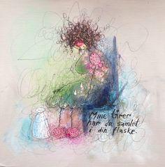 Mine tårer har du samlet i din flaske. Colorful Paintings, Art Girl, Lamb, Abstract, Girls, Artwork, Quotes, How To Make, Diy